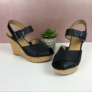 Franco Sarto Seneca Black Peep Toe Strappy Wedges